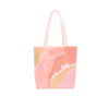 Cute tote bag with peach and pink cloud pattern.