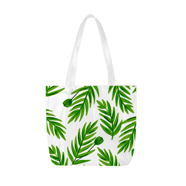 Cute tote bag in clear vinyl with leaf pattern.