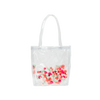 Cute tote bag in clear vinyl with colorful pom poms.