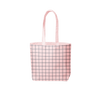 light pink canvas tote bag with blue grid