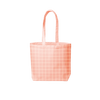 peach canvas tote with grid print