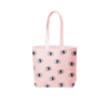A pink canvas tote bag with blue eyeballs