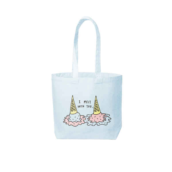 beach wash denim tote bag that says i melt with you and has two ice cream cones