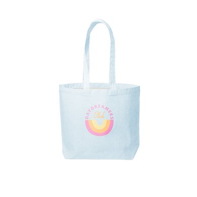Cute tote back in light wash denim with Daydreamers Club rainbow design.