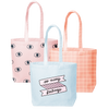 Three canvas tote bags; beachwash denim with so many feelings print, peach with grid pattern, and blush pink with eyeballs pattern.