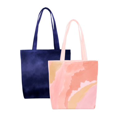 Two cute tote bags; one peach with a cloud pattern, the second in dark navy blue.