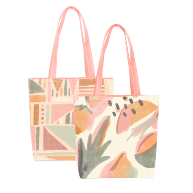 Two cute tote bags in mutey fruity and fruit basket print.