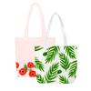 Two cute tote bags; clear vinyl with fern leaf pattern and one pink with red poppy trim.