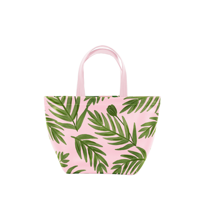 Cute handbag in blush pink with green fern pattern.