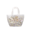 Clear vinyl handbag with glitter confetti and double hand strap.