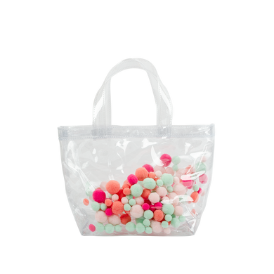 Cute clear handbag in vinyl with colorful pom poms in coral, pink, and seafoam.