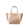 Cute handbag in metallic gold with short handles.