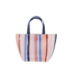 Cute tote bag in purple, blue, pink, and coral stripes pattern with navy straps.