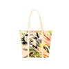 Cute tote bag in green tropical print vegan leather and yellow straps.