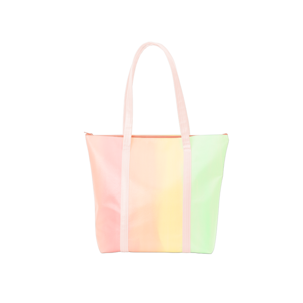 Cute tote bag in pastel rainbow ombre and blush pink straps with a zippered top.