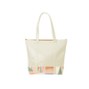 Cute tote bag in tan with geometric fruit basket pattern and zippered top.
