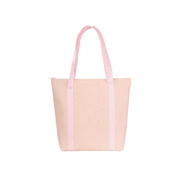 Cute tote back in pink straw with pink canvas shoulder straps.
