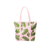 A cute tote bag in blush pink with green fern print and pink double shoulder straps.