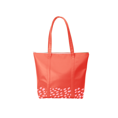 Cute tote bag in red vegan leather with blush pink speckle pattern along the bottom.