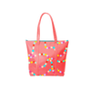 Cute tote bag with zippered top in red with rainbow polka dot pattern.