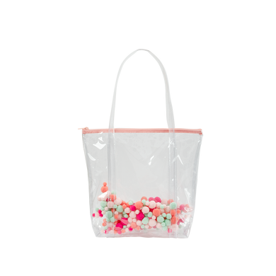Cute tote bag in clear vinyl with colorful pom poms and a peach zippered top.