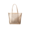 Cute tote bag in metallic gold with zippered top closure.