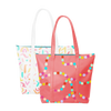 Two cute tote bags; one red with rainbow polka dots and the other white with rainbow confetti pattern.