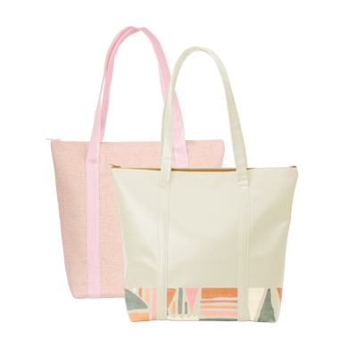 Two cute tote bags with zippered top closure; one tan with geometric pattern detail and pink straw with canvas straps.