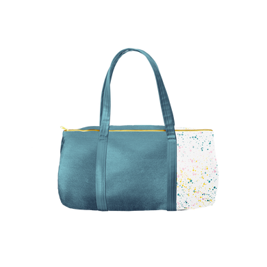 Spruce green duffel bag with gold zipper and a white paint splatter detail.