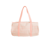 Cute duffel bag in canvas with peach stripes.