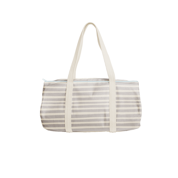 Cute duffel bag in canvas with gray stripes.