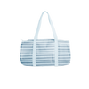 Cute duffel bag in canvas with light blue and blue stripes.