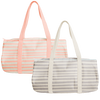 One gray canvas duffel bag with stripes and one canvas duffel bag with peach stripes and straps.