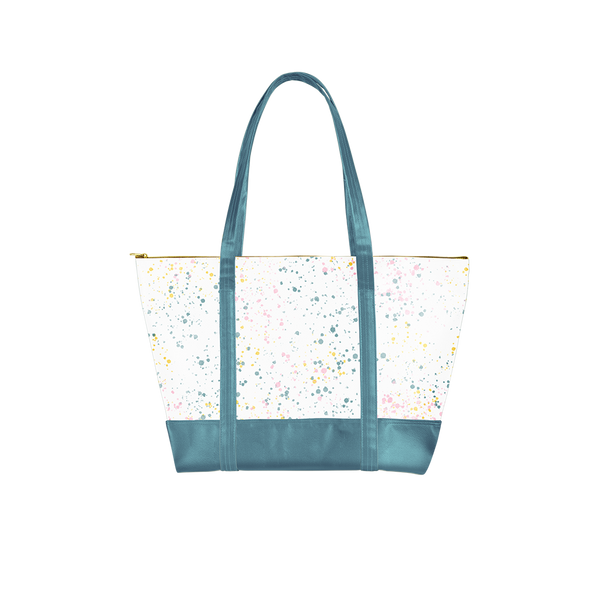 a splatter bag with spruce green handles
