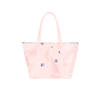 Cute travel bag in light pink with abstract floral pattern.