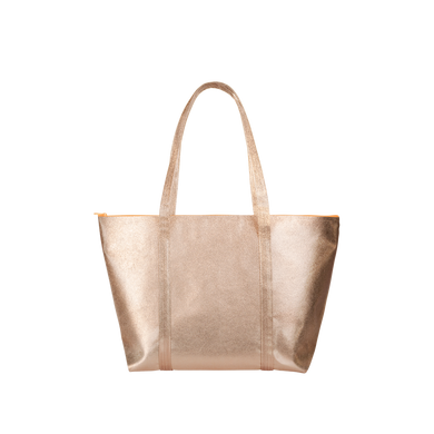 Cute travel bag in metallic gold vegan leather with a zippered top.
