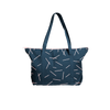 Cute tote bag in navy blue canvas with pixie stick pattern and double shoulder straps.