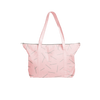 Cute travel bag in pink canvas with pixie sticks pattern and double shoulder straps.