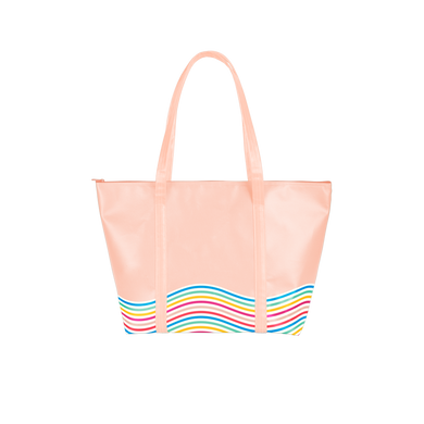 Cute tote bag in peach vegan leather with rainbow wavy line trim and a zippered top.