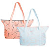 Cute tote bags in light denim with peach pixie sticks and peach canvas with navy blue pixie sticks.
