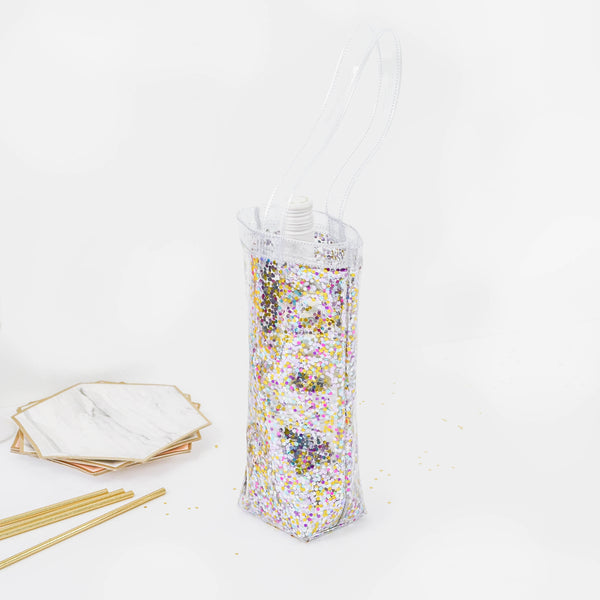 Clear vinyl wine tote bag with glitter confetti and a long vinyl strap across the top