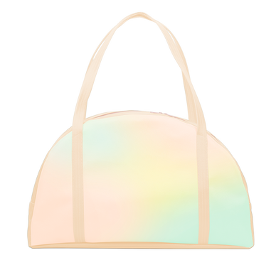 Cute carryon bag in pastel ombre and light yellow shoulder straps and zippered top.