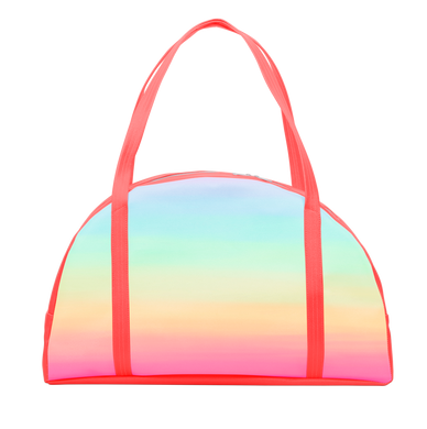 Cute carryon bag in a rainbow ombre with coral shoulder straps.