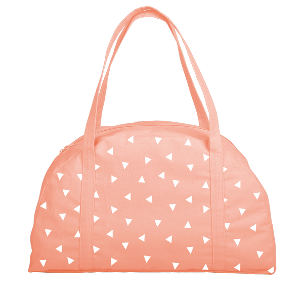 Cute carryon bag in peach canvas with triangle pattern.