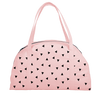 Cute travel tote in blush pink canvas with black triangles pattern.