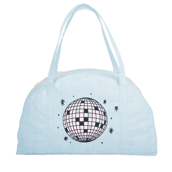 Cute travel tote bag in light denim with pink disco ball design.