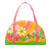 large zippered tote bag with pink handles in pink with floral and swirl print in pink, yellow and orange