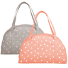 Canvas travel tote bag in peach with triangle pattern and gray with triangle pattern.