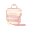 pink canvas tote bag with stripes and adjustable straps