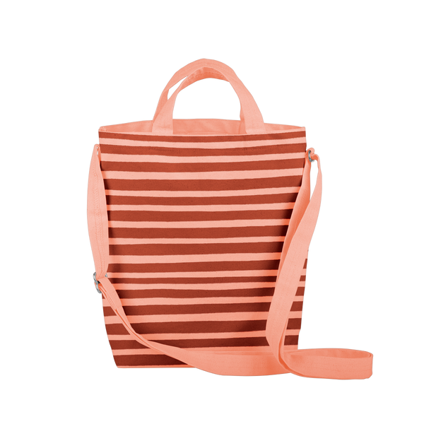 cute tote bag with peach canvas, stripes, and adjustable straps